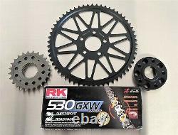 Superlite Chain Conversion Kit Black Sprocket Gold XW-Ring 06-17 Harley Dyna 1/2