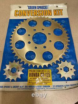 1973-1977 Honda Cr 125 Victor Produits D'or Sprocket Kit De Conversion Nouveau