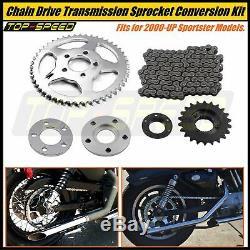 Kit De Conversion D'entraînement Par Chaîne À Pignons De Transmission Pour Harley Sportster XL 2000-up