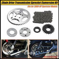 Kit De Conversion Sprocket Chain Drive Avant Et Arrière Pour Harley Sportster XL 2000-up